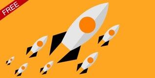 Cohetes de diseño de fondo plano
