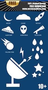 Cielo con iconos de espacio vectorial Pack