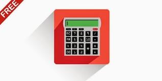 Icono de la calculadora de color rojo con una larga sombra
