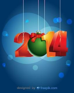 Feliz año nuevo 2014 colgando en cuerdas