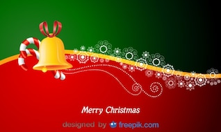 Postal Horizontal de feliz Navidad con bastones de caramelo y una campana
