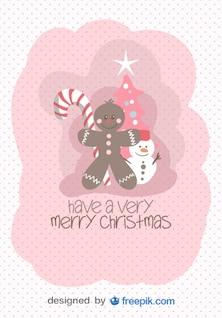 Tarjeta de felicitación de Feliz Navidad de objetos navideños