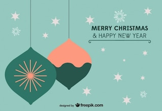 Postal de Navidad de estrellas y ornamentos retro