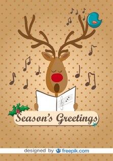 Reno cantando villancicos de Navidad ilustración vectorial de dibujos animados
