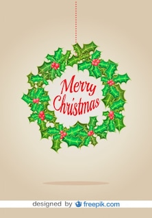 Corona de navidad tarjeta de Navidad vectorial