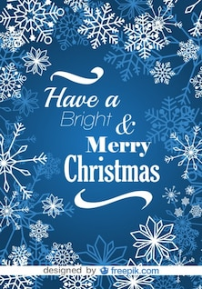 Postal de feliz navidad azul de copos de nieve