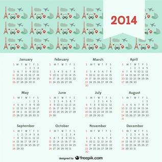 Calendario 2014 con el concepto de viaje París ciudad del amor