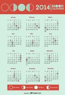 calendario 2014 de fases de la luna en símbolos