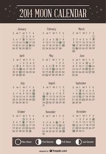 2014 calendario lunar diseño de plantilla