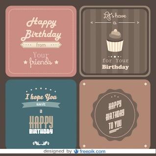 Pack de tarjetas con felicitación de cumpleaños de estilo retro