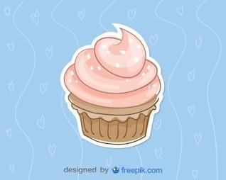 Cupcake de fresa con fondo azul