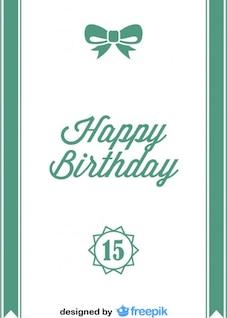 Feliz cumpleaños con moña de cinta de postal estilo antigua