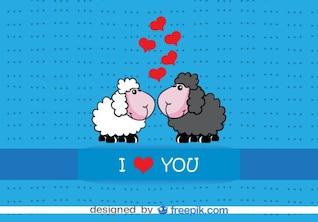 Diseño de tarjeta de San Valentín de ovejas de dibujos animados besándose