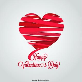 Diseño de tarjeta del día de san valentín con forma de corazón de cinta