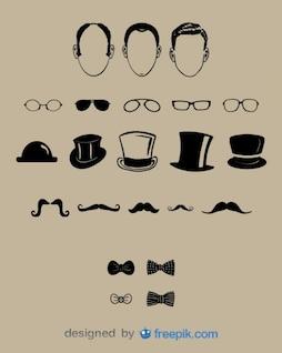 Diseño de caballeros de conjunto de moda antigua con caras gafas sombreros y moñas