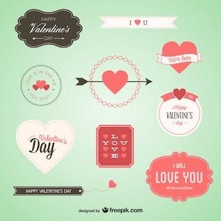 Insignias preciosas en juego de San Valentín