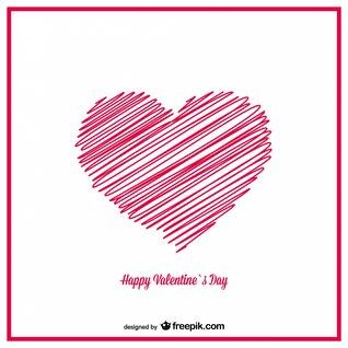 Diseño de tarjeta de San Valentín de corazones de croquis dibujados a mano