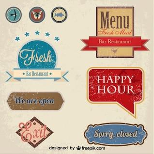 Set vintage de etiquetas de restaurante