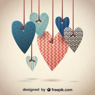 Corazones con diseños de patrones retro para San Valentín