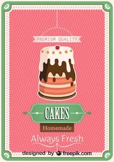 Cartel de pastel casero de diseño retro