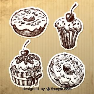 Diseño de donas y cupcakes retro dibujadas a mano