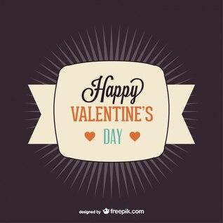 Diseño antiguo de Feliz Día de San Valentín de cinta con resplandor