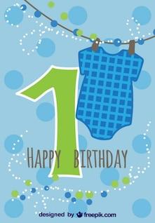 Tarjeta primer cumpleaños de niño