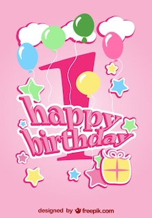Diseño tarjeta de primer cumpleaños