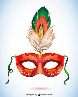 Máscara de carnaval con pluma, formato vectorial