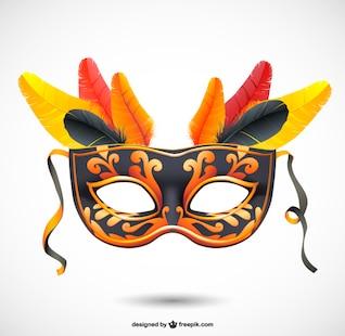 Máscara de carnaval oscura con plumas