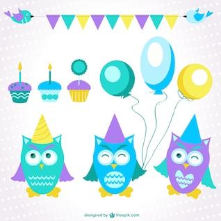 Elementos gráficos de cumpleaños con búhos simpáticos