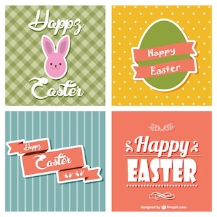 Colección de tarjetas de Pascua coloridas