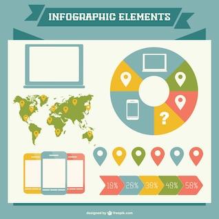 Elementos para infografías de colores