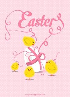 Diseño de tarjeta con pollitos de Pascua