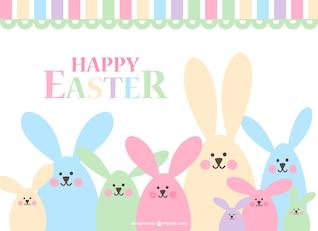Conejitos de Pascua de colores