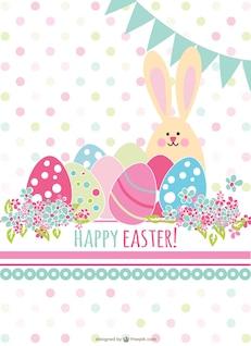 Tarjeta de Pascua retro con conejito