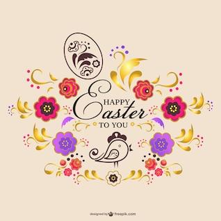 Tarjeta de Pascua floral