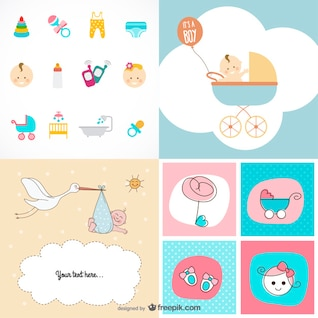 lindo bebé Artículos tema vector de material