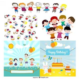 personajes de dibujos animados lindos vectores