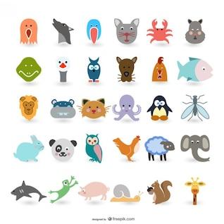 los animales de dibujos animados lindos vectores