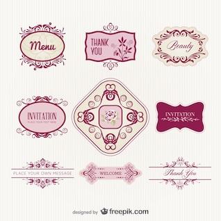 exquisito estilo europeo patrón de la etiqueta de vectores