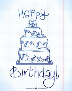 Tarjeta de cumpleaños con boceto de tarta