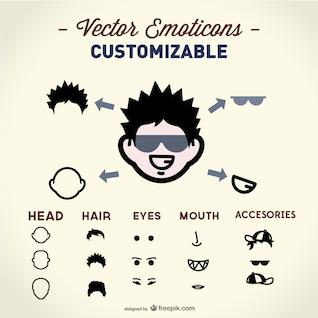Elementos de vector de la cara
