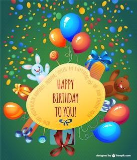 Tarjeta de feliz cumpleaños con globos