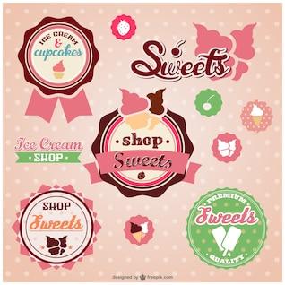 Tienda de dulces vector retro pegatinas