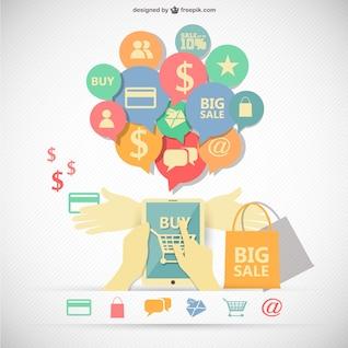Imagen infográfica de compras en línea