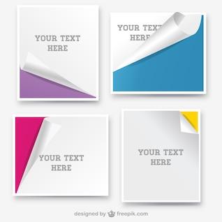 Banderas de papel rizado diseño de páginas