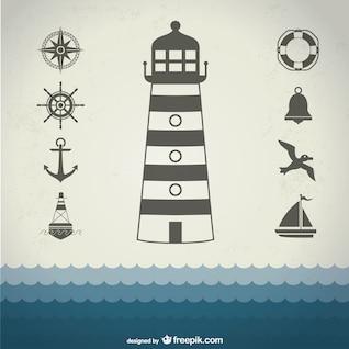 Conjunto de iconos náuticos