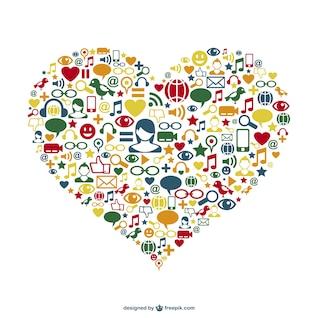 Iconos de redes sociales con forma de corazón