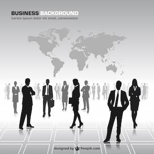 La gente de negocios siluetas vector mapa del mundo